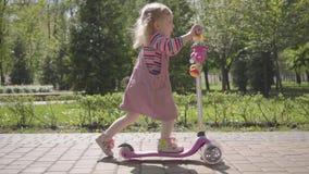 Urocza mała śmieszna dziewczyna w menchiach ubiera jadący hulajnogę w parku Kamera podąża dziecka aktywny tryb ?ycia zdjęcie wideo
