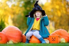 Urocza mała dziewczynka jest ubranym Halloween kostium ma zabawę na dyniowej łacie Obraz Stock