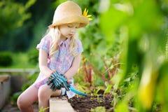 Urocza mała dziewczynka jest ubranym słomianego kapelusz bawić się z jej zabawkarskimi ogrodowymi narzędziami w szklarni Zdjęcie Stock