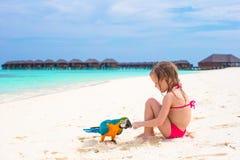 Urocza mała dziewczynka przy plażą z kolorową papugą Zdjęcia Royalty Free