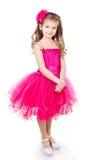 Urocza mała dziewczynka w princess sukni odizolowywającej obraz royalty free