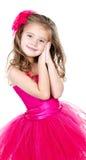 Urocza mała dziewczynka w princess sukni odizolowywającej zdjęcie stock