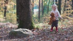 Urocza mała dziewczynka wycieczkuje w lesie na letnim dniu Szczęśliwa dziecko dziewczyna w lasowym małym dziecku bawić się w jesi zbiory wideo