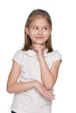 Urocza mała dziewczynka wyobraża sobie Obrazy Stock