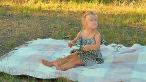 Urocza mała dziewczynka z raportowymi sztukami na koc w parku zdjęcie wideo