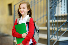 Urocza mała uczennica studiuje outdoors na jaskrawym jesień dniu Młody uczeń robi jej pracie domowej Edukacja dla małych dzieciak Fotografia Royalty Free