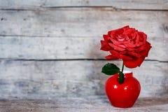 Urocza pocztówka z czerwieni różą w wazie na rocznika drewnianym backgr Obraz Stock