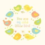 Urocza rama z kreskówka ślicznymi ptakami, sercami i gałąź, Zdjęcie Royalty Free