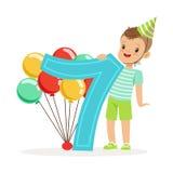 Urocza siedem roczniaka chłopiec świętuje jego urodzinową, kolorową postać z kreskówki wektoru ilustrację, royalty ilustracja