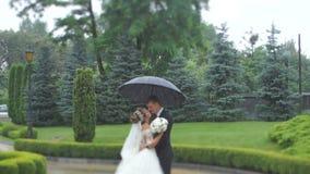 Urocza szczęśliwa para nowożeńcy tenderly naciera nosy i ono uśmiecha się podczas gdy stojący pod parasolem w deszczu zbiory