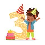Urocza trzy roczniaka dziewczyna świętuje jej urodzinową, kolorową postać z kreskówki wektoru ilustrację, royalty ilustracja