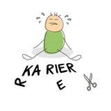 Urocza zieleń shirted doodle postaci płacz royalty ilustracja