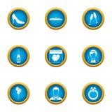 Urocze dzień ikony ustawiać, mieszkanie styl royalty ilustracja