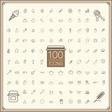 Urocze jedzenia i kitchenware ikony ustawiać Fotografia Stock