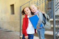 Urocze małe uczennicy studiuje outdoors na jaskrawym jesień dniu Młodzi ucznie robi ich pracie domowej Edukacja dla małych dzieci Zdjęcie Royalty Free