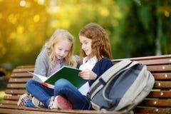 Urocze małe uczennicy studiuje outdoors na jaskrawym jesień dniu Młodzi ucznie robi ich pracie domowej Edukacja dla małych dzieci Zdjęcia Stock