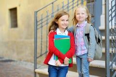 Urocze małe uczennicy studiuje outdoors na jaskrawym jesień dniu Młodzi ucznie robi ich pracie domowej Edukacja dla małych dzieci Obraz Stock