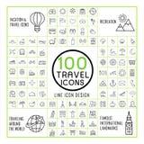 Urocze 100 podróży ikon ustawiających Zdjęcia Royalty Free