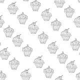 Uroczego babeczki deserowego bezszwowego tła wektorowy projekt Zdjęcia Royalty Free