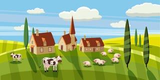 Uroczego kraju wiejski krajobraz, krowy barani pasanie, gospodarstwo rolne, kwiaty, paśnik, kreskówka styl, wektorowa ilustracja ilustracja wektor