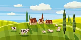 Uroczego kraju wiejski krajobraz, krowy barani pasanie, gospodarstwo rolne, kwiaty, paśnik, kreskówka styl, wektorowa ilustracja royalty ilustracja