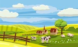 Uroczego kraju wiejski krajobraz, krowy pasanie, gospodarstwo rolne, kwiaty, paśnik, kreskówka styl, wektorowa ilustracja royalty ilustracja