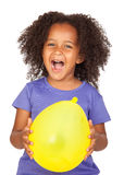 uroczej afrykanina balonu dziewczyny mały kolor żółty Obraz Stock