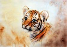 Uroczej dziecko tygrysa głowy przyglądający up royalty ilustracja