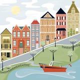 uroczej sceny uliczna wioski woda ilustracji