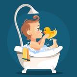 Uroczy, śliczny dziecko w wannie z bąblami, royalty ilustracja