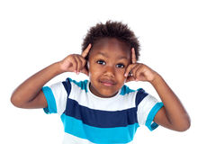 Uroczy afroamerican dziecka główkowanie Obraz Royalty Free