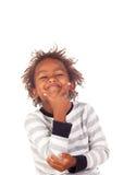 Uroczy afroamerican dziecko z trzy rok myśleć Zdjęcia Royalty Free