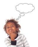 Uroczy afroamerican dziecko z trzy rok myśleć Obraz Royalty Free