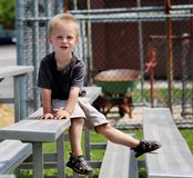 Uroczy berbeć chłopiec obsiadanie na blicharzach przy a Zdjęcia Royalty Free