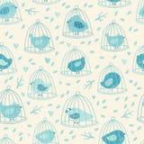 Uroczy bezszwowy wzór z ślicznymi ptakami i gałąź Obraz Royalty Free