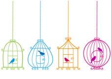 uroczy birdcages ptaki royalty ilustracja