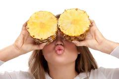 uroczy blondynka ananas Zdjęcia Royalty Free