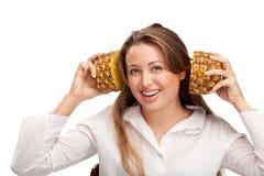 uroczy blondynka ananas Obrazy Royalty Free