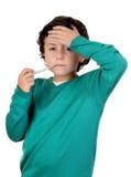 uroczy chłopiec termometru whit Obraz Royalty Free