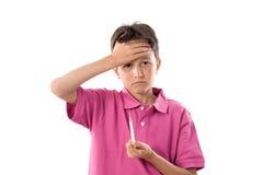 uroczy chłopiec termometru whit Fotografia Stock