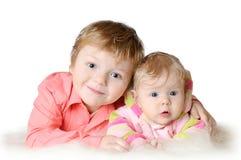 Uroczy dwa dziecka - siostra i brat Obraz Stock
