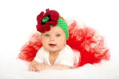 Uroczy dziecka princess w czerwonej spódniczki baletnicy sukni obraz royalty free