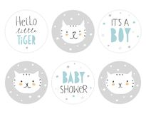 Uroczy dziecko prysznic Round kształta etykietki set Cześć Trochę tygrys ilustracja wektor