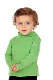Uroczy dziecko z zieloną koszula Fotografia Stock