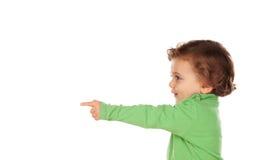 Uroczy dziecko z zieloną koszula Zdjęcia Stock