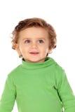 Uroczy dziecko z zieloną koszula Zdjęcie Stock