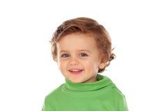 Uroczy dziecko z zieloną koszula Zdjęcia Royalty Free