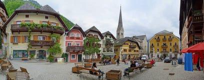 Uroczy i kolorowy Hallstatt Marktplatz obraz stock