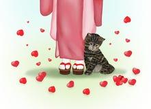 Uroczy japoński kot po środku wiele serc Zdjęcia Royalty Free