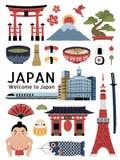 Uroczy Japonia symbolu kulturalny set royalty ilustracja
